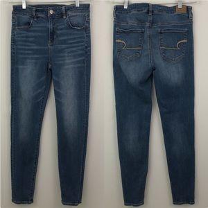 AEO Hi Rise Jeggings Next Level Stretch Jeans Blue